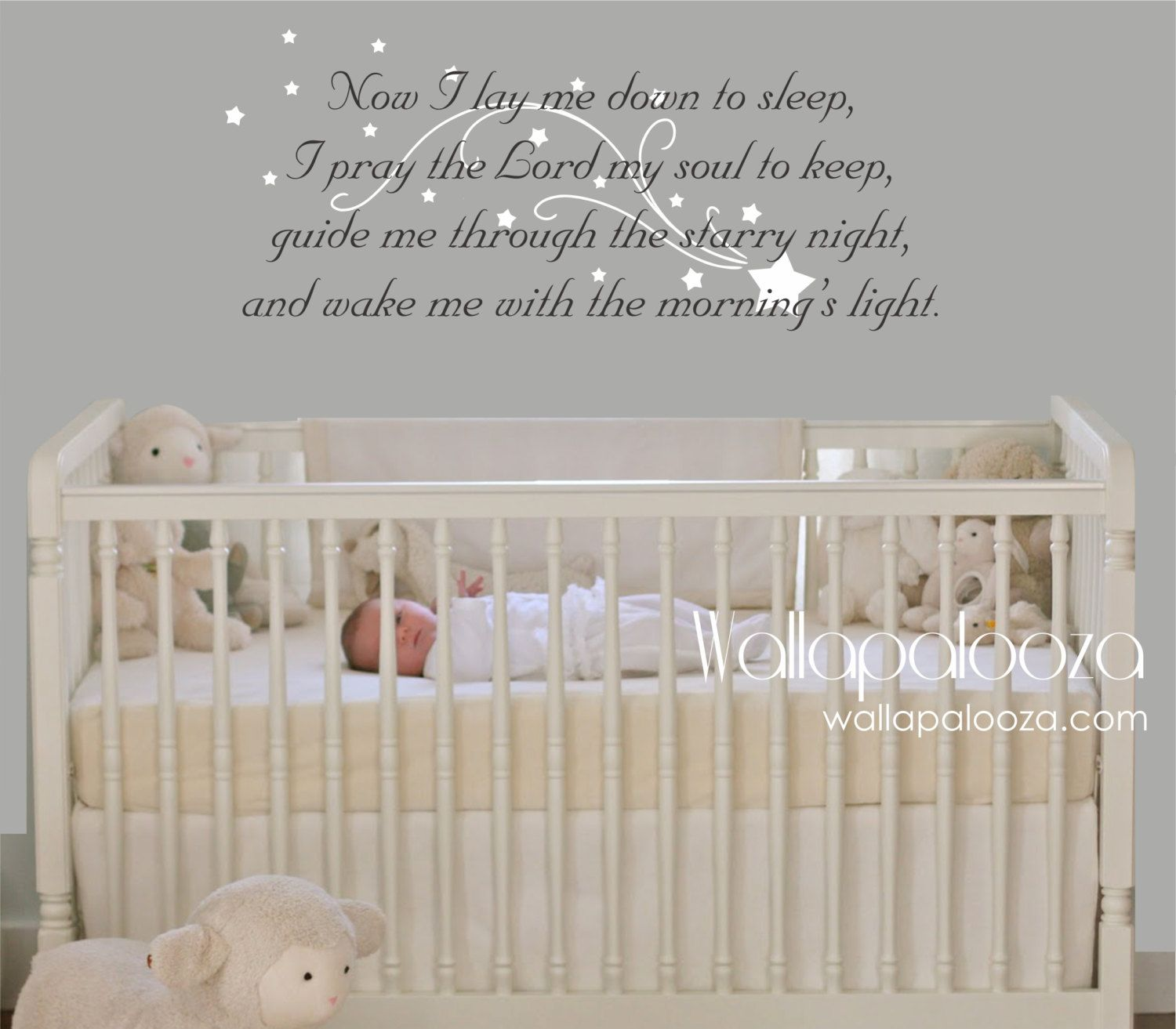 Now I Lay Me Down To Sleep Wall Decal   Prayer Wall Decal   Baby Room Wall  Decal   Nursery Wall Decal   Nursery Wall Art   Wall Decor By  WallapaloozaDecals Part 29