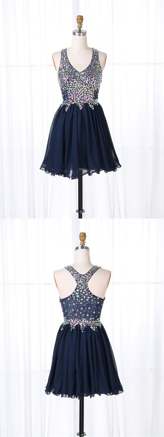 Navy blue beaded homecoming dresses cute party dress blue short