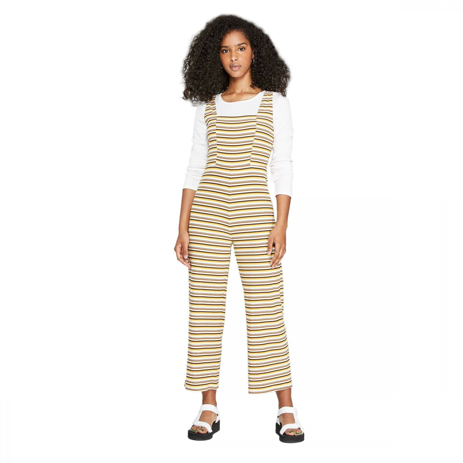 Wild Fable Womens Beige Striped Strappy Square Neck Cotton Overall