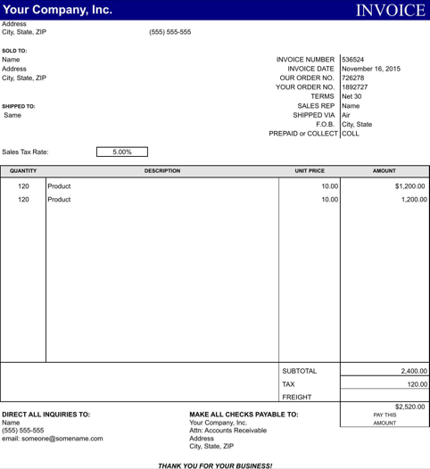 General Invoice Template TemplatesForms Pinterest - General invoice template