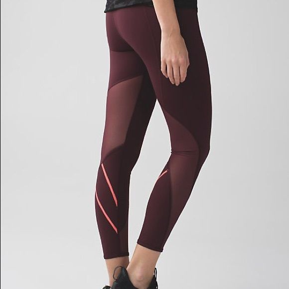 15ac23f8e8 All meshed up 7/8 tight Perfect condition! Size 6 all meshed up 7/8 tights  in maroon. Sold out color in the us! lululemon athletica Pants Leggings