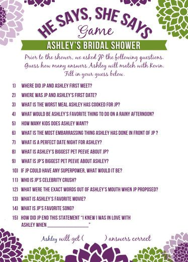 bridal shower games he says she says printable and personalized purple and green via etsy
