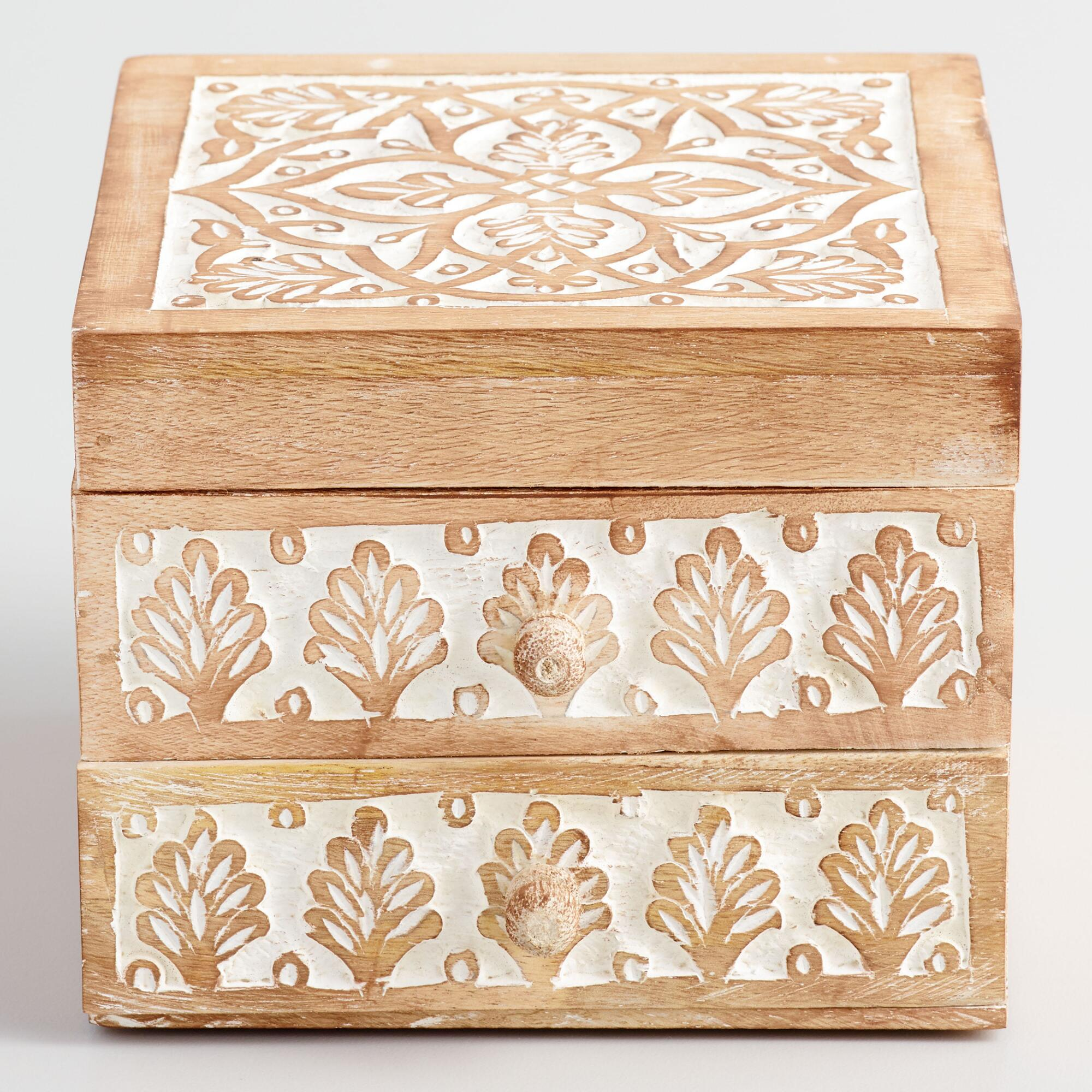 World Market Jewelry Box Custom Whitewashed Carved Wood Jewelry Boxworld Market  Products Decorating Design