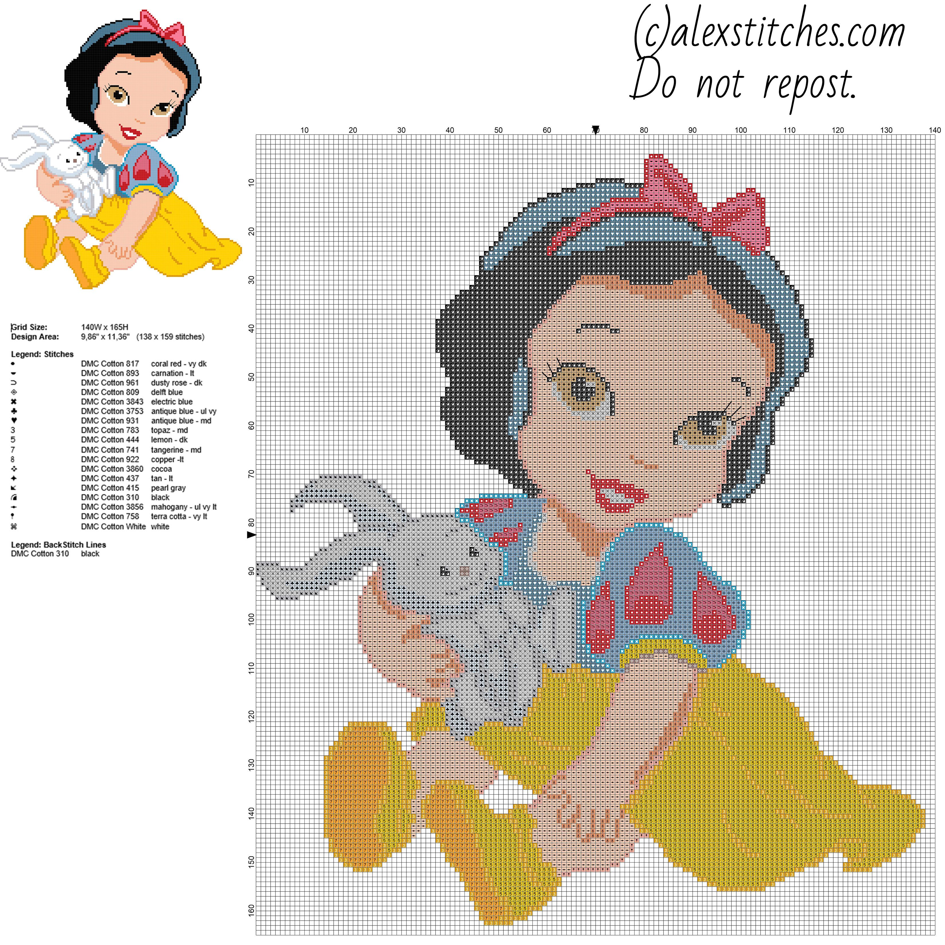 disney baby princess snow white free cross stitch pattern
