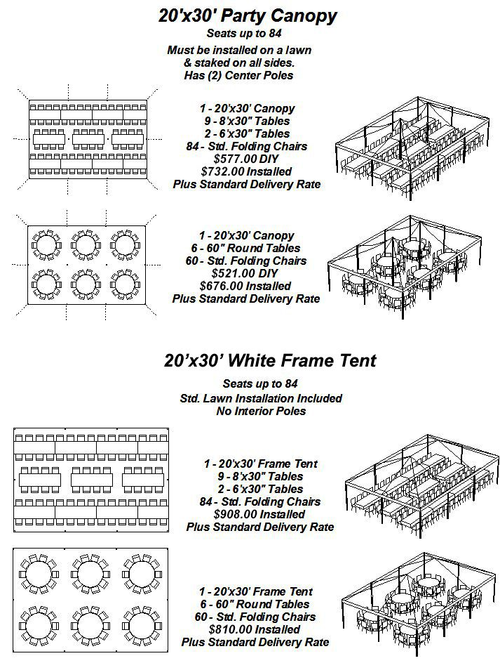 20'x30' Party Canopy & White Frame Tent Layouts Party