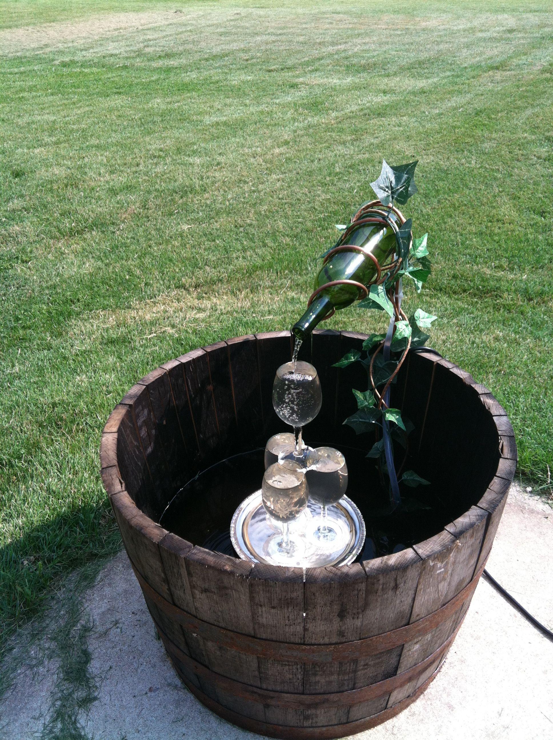 Wine Barrel Fountain Wine Bottle Fountain Diy Garden Fountains Diy Water Fountain
