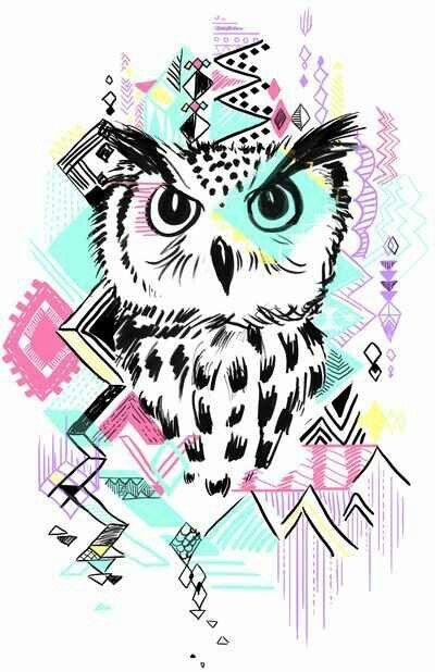 Artsy Cool Owl Wallpaper