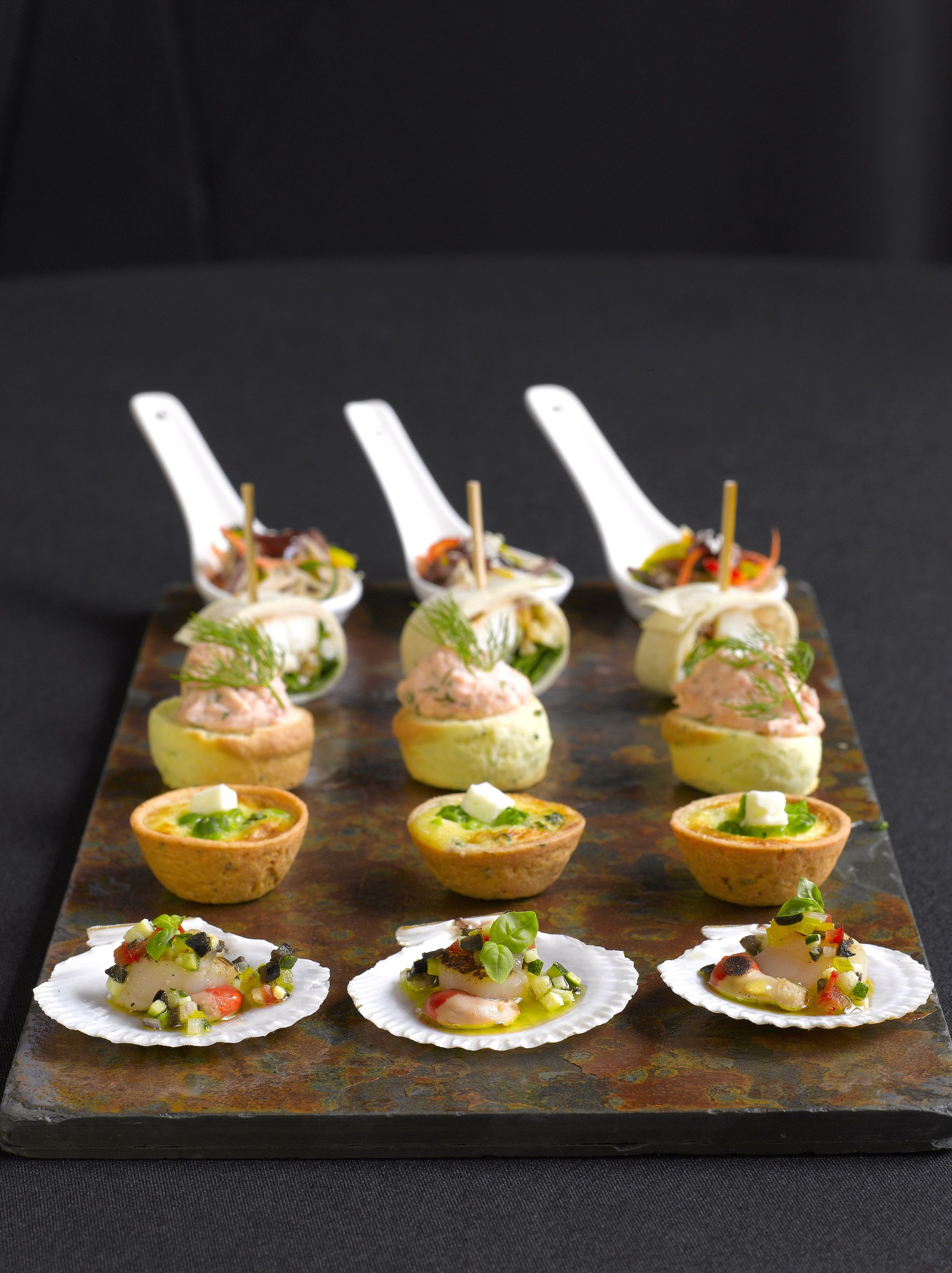 Canapes Scallop Vierge Goats Cheese Tartlets Parties