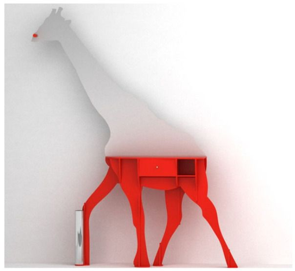 giraffe furniture. Bright White And Red Original Exotic Giraffe Shaped Sideboard. Sideboard Furniture