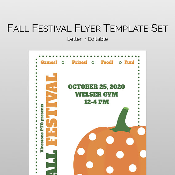 fall festival flyer template set for pta pto church and other