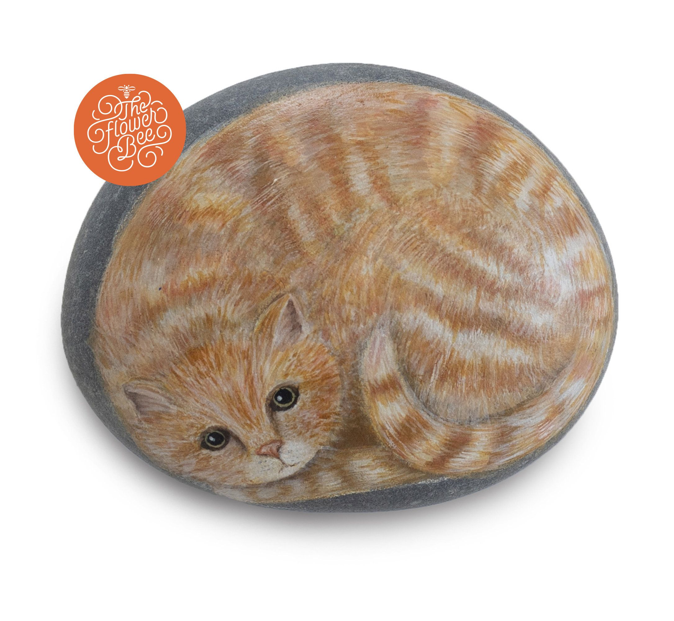 A Ginger Kitten Painted on a Smooth Stone. Rock Painting Art by Dianne Kleinschmidt-de Villiers | Animal Rock Painting Collection