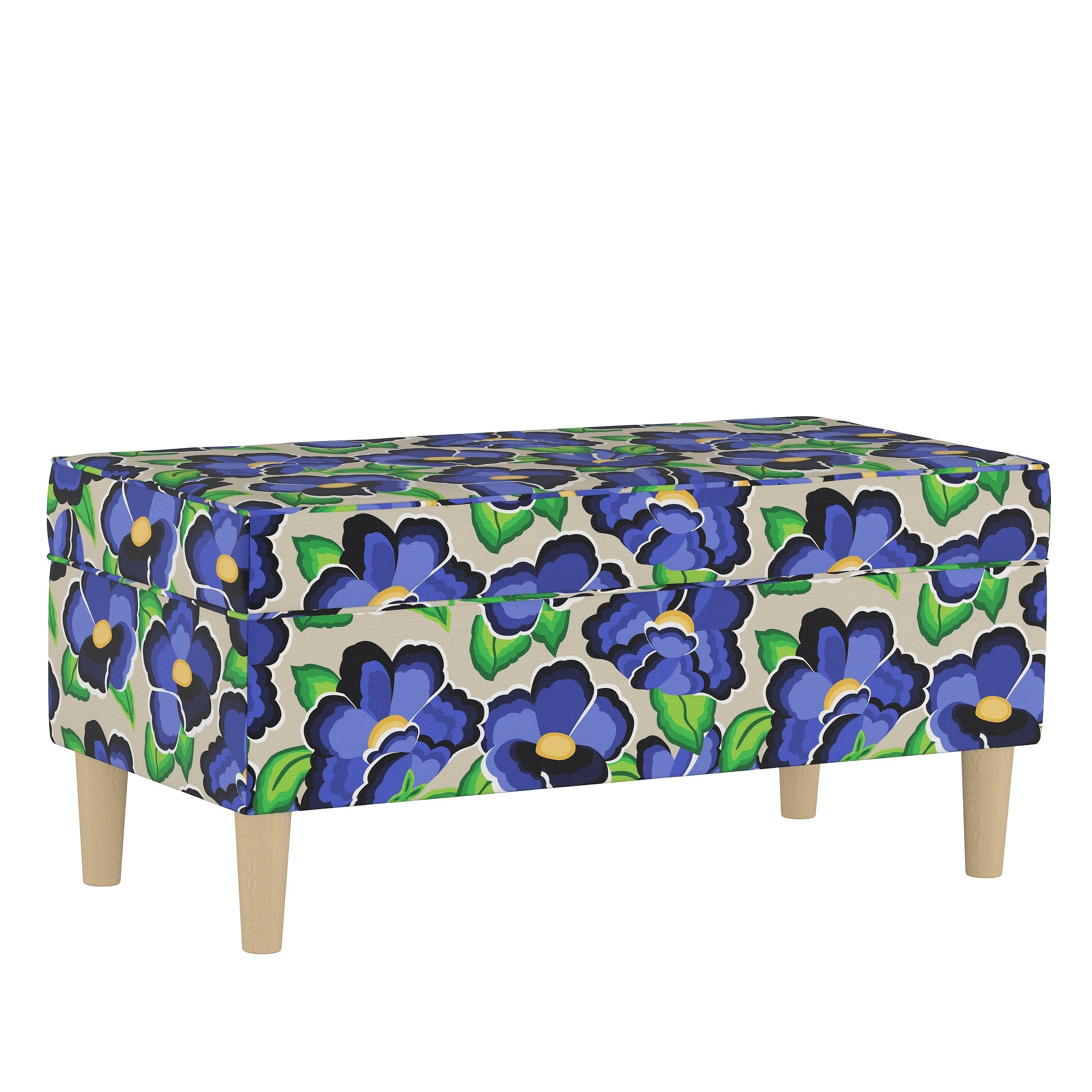 Magnificent Skyline Furniture Storage Bench In Carla Floral Blue N A Pdpeps Interior Chair Design Pdpepsorg