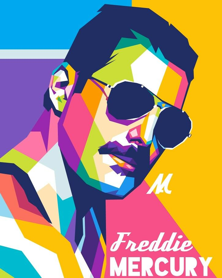 Freddie Mercury Legendary Poster By Namrahc Kunatip Displate Pop Art Posters Wpap Art Pop Art Portraits