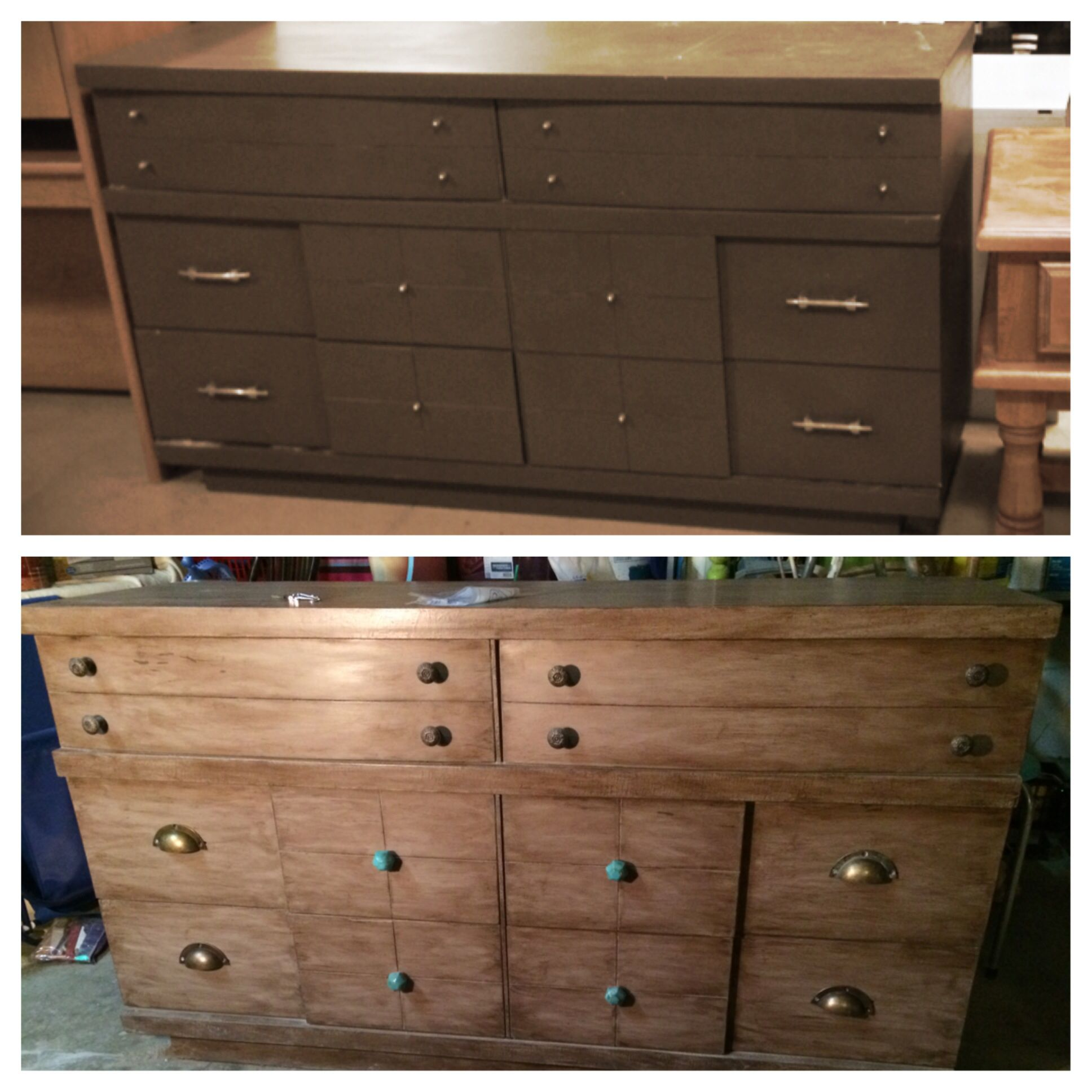 Brown Painted Dresser Redo It With Taupe Chalk Paint And Distressed Dark Wax Gel Finished By Buffing Out Dust Of The Ages Powder