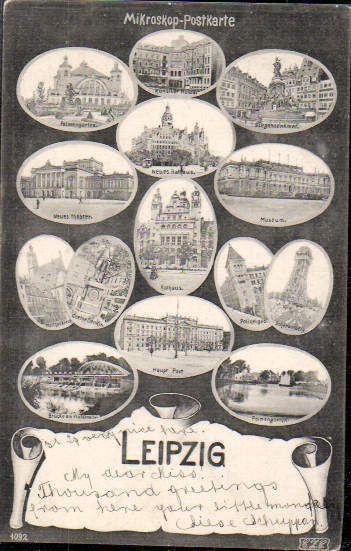 Leipzig, alte Mehrmotiv-Mikroskop-AK 1904 - TOP-Rarität