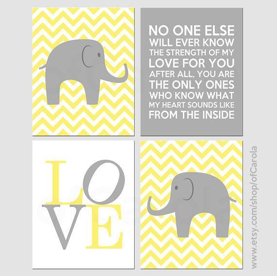 Custom Elephant Nursery Wall Art Print Set FOUR No One by ofCarola ...