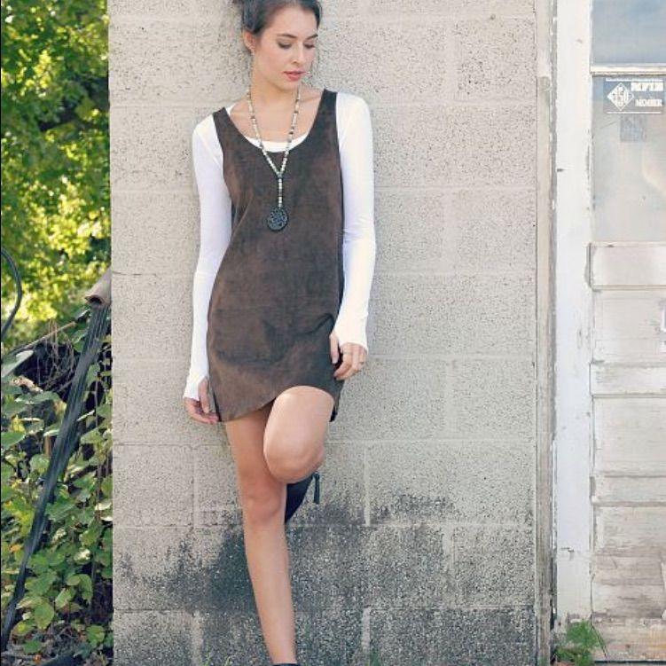 Bb Dakota Brown Suede Dress