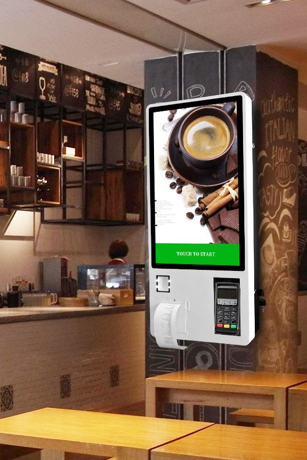 Touch Screen Self Payment Ordering Kiosk 24 Inch Wall