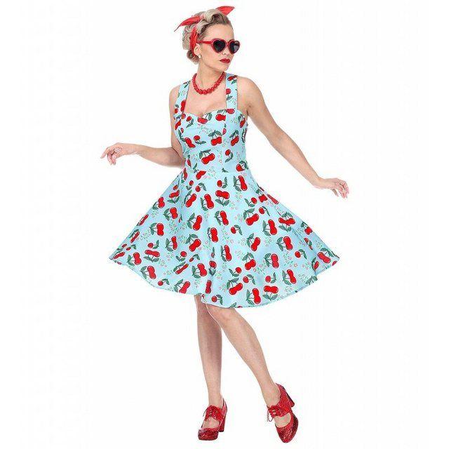 Blaues 50er Jahre Kirschen Kleid für Damen | 50er jahre ...