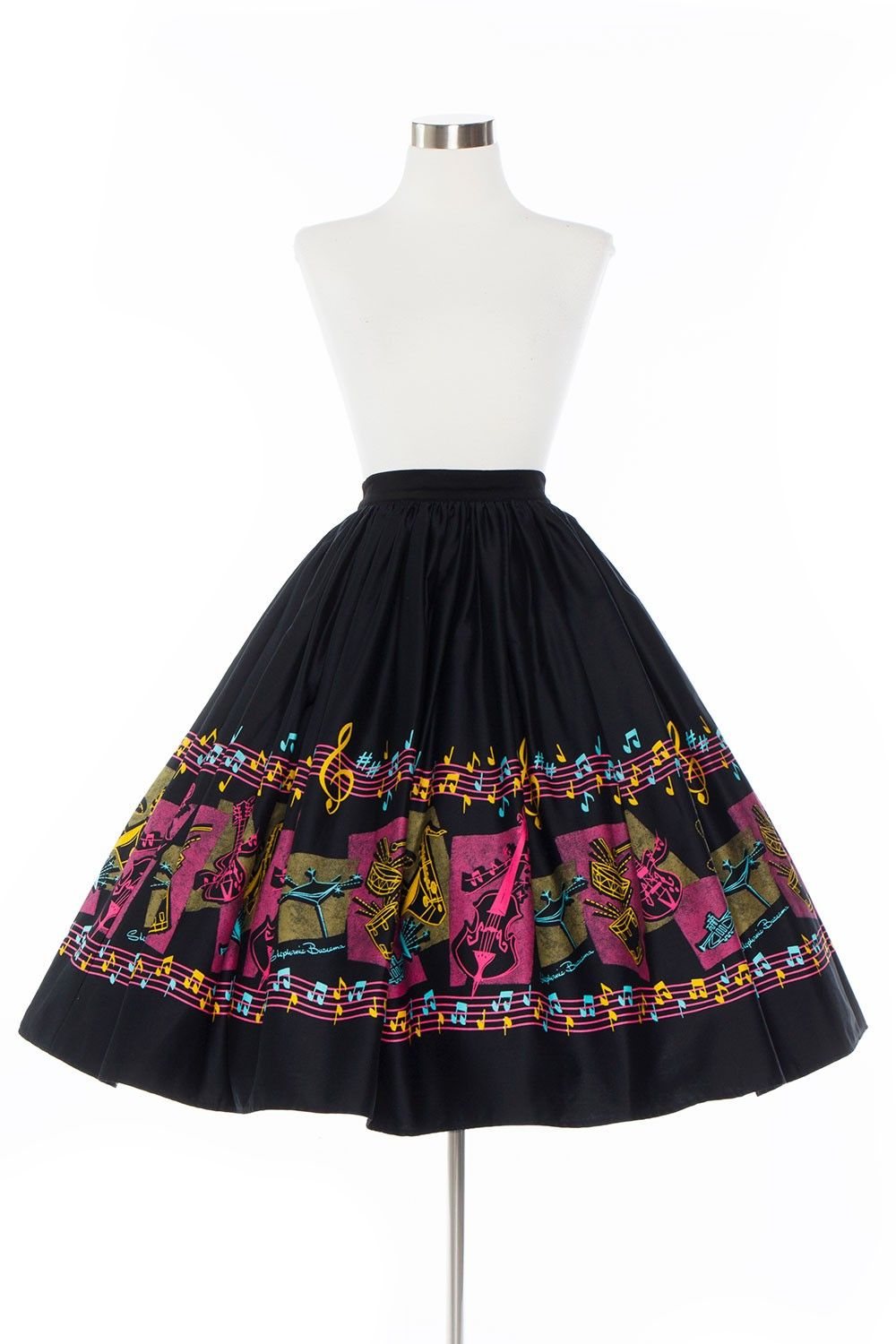 Cheap Pin Up Clothing Pinup Couture Jenny 1950's Style Skirt In Music Border Print  Pinup