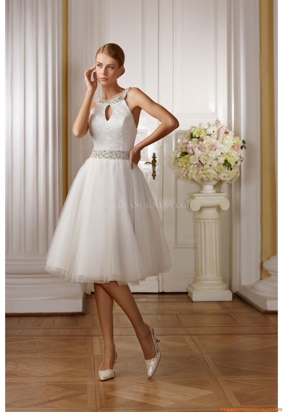 Nackkhalter Romantische Kurze Brautkleider aus Softnetz mit ...