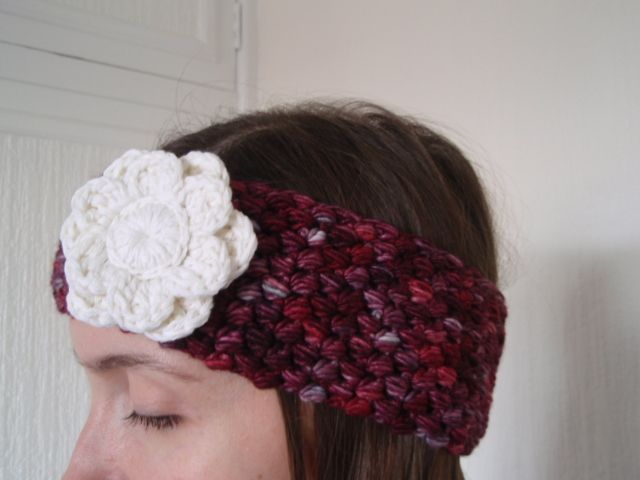SALE - Berry Red and White Flower Crochet Head Band Earwarmer £9.50