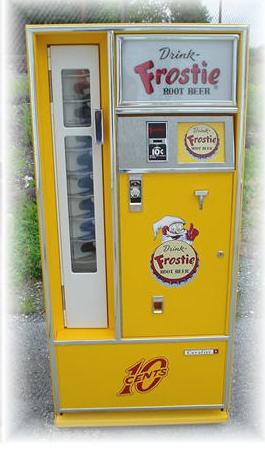 Restored 60s square top soda vending machine. Drink Frostie Root Beer