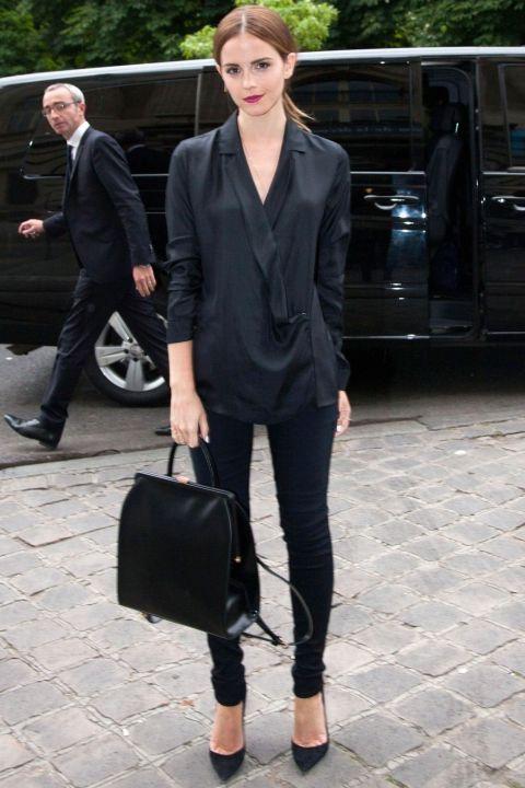 Emma Watson In Head-To-Toe Black At The Giambattista Valli Show During Haute Couture Paris Fashion Week, 2014