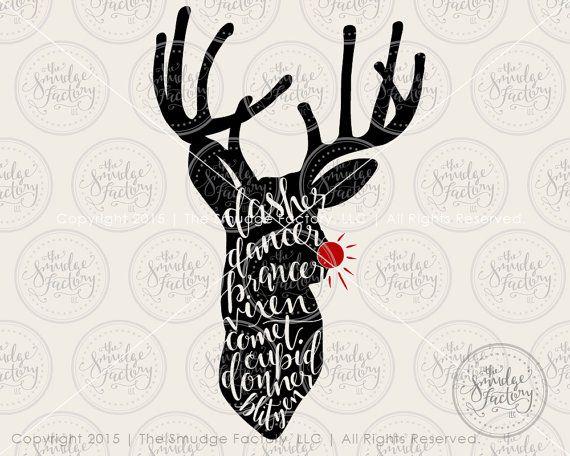 reindeer svg cut file  deer svg  dasher dancer  silhouette