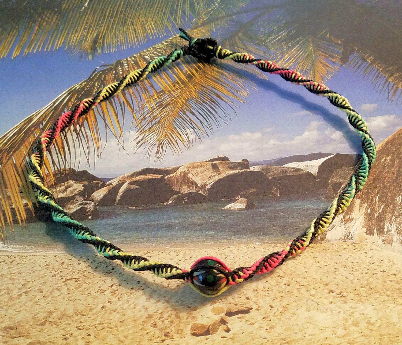 Rasta Double Twist Focal Wood Bead Hemp Necklace by Jenstylehemp on Etsy