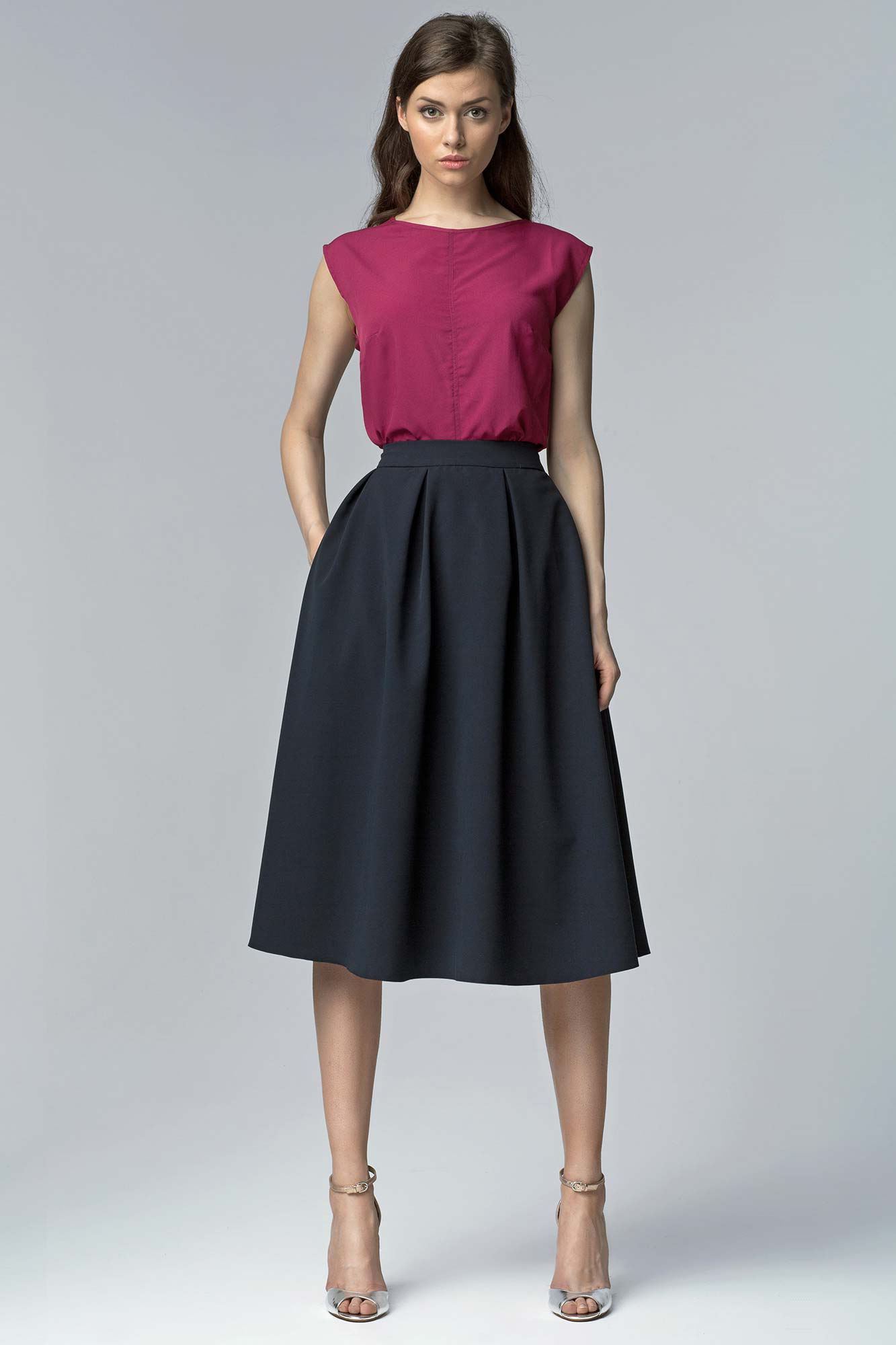 acheter une jupe cloche pliss e taille haute mode. Black Bedroom Furniture Sets. Home Design Ideas