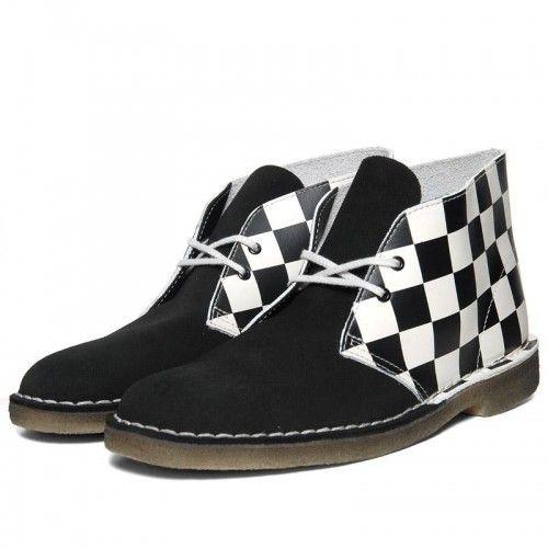 Lambretta Mens Black Real Suede Retro Mod Desert Boots