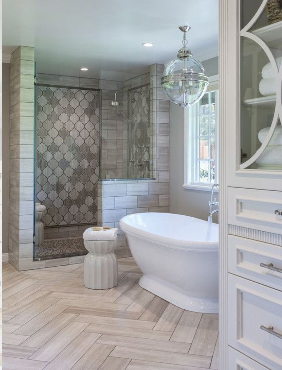 The Floor In The Bathroom Is An Example Of Alternating Patterns Because The Chevron Like Floor Has Rectangles Going Diagonal Up Or Down Dream Bathrooms Bathroom Inspiration Beautiful Bathrooms