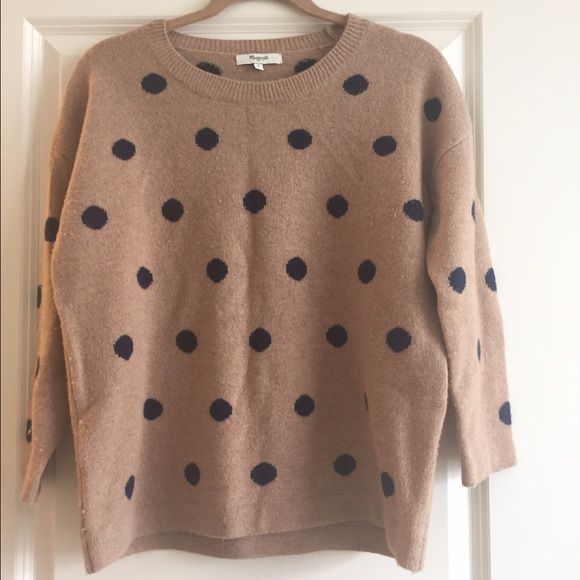 Madewell Polka Dot Sweater Light caramel brown with navy dots. 3/4 sleeves...super cozy sweater with a nice boxy shape. Madewell Sweaters Crew & Scoop Necks