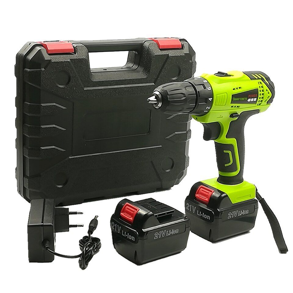 21v Cordless Drill Battery Electric Screwdriver Household Rechargeable Cordless Tools 2pcs Battery Plastic Case Cordless Drill Batteries Cordless Drill Cordless