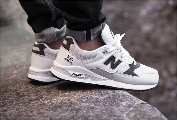 New Balance M530CCR  | Tags: sneakers, low-tops, leather, white, gray, black, cuffed black denim, on feet