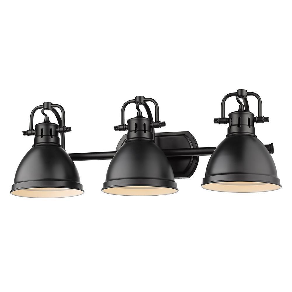 Golden Lighting Duncan 3 Light Black Bath Light With Matte Black Shade 3602 Ba3 Blk Blk In 2020 Black Bathroom Light Golden Lighting Bath Light