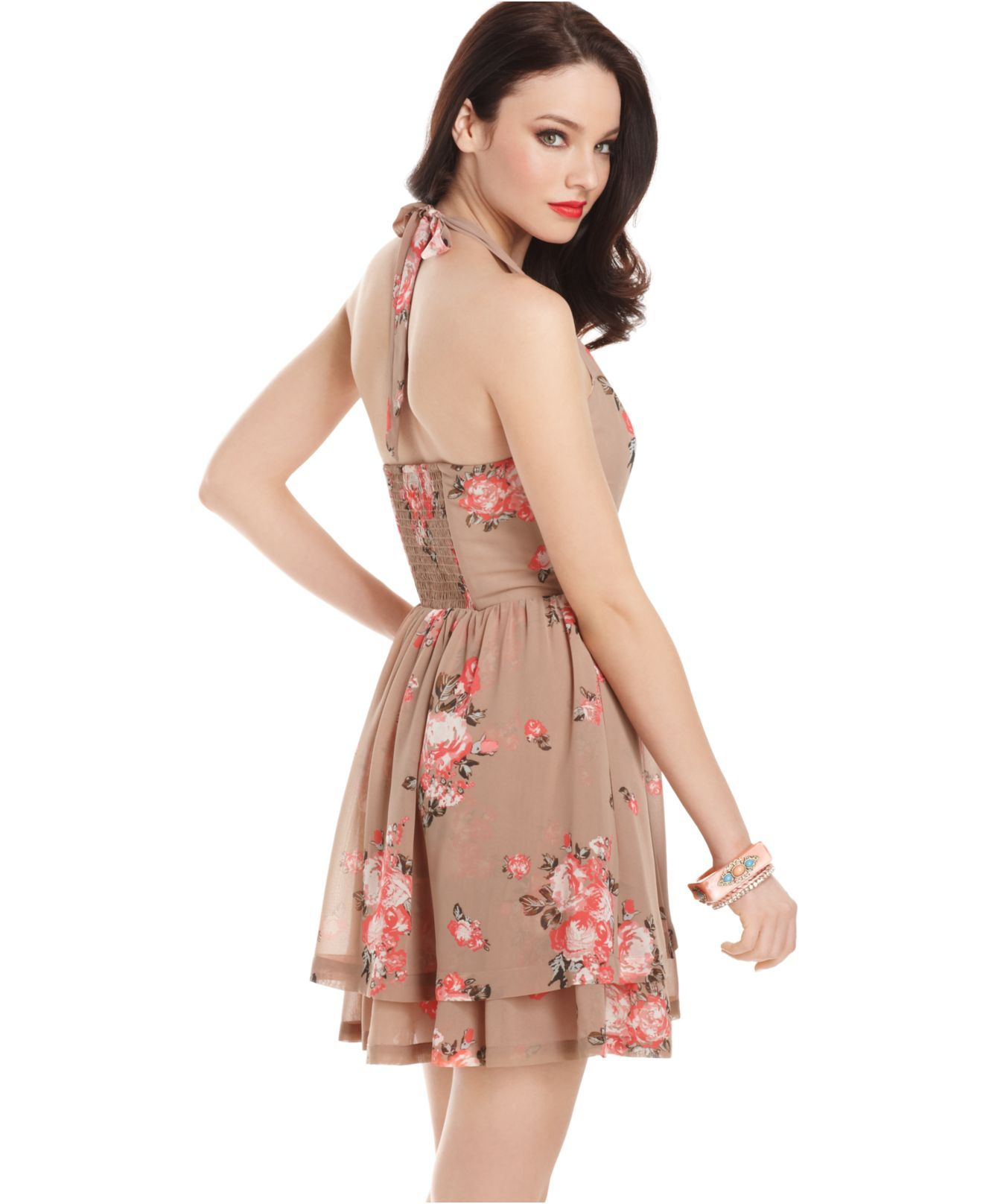 e1e71eafcb81 GUESS? Dress, Sleeveless Ingrid Floral Print Tiered Halter - Juniors Dresses  - Macy's