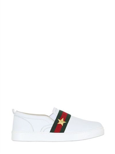 547d2a5f0b8 GUCCI - WEB NAPPA LEATHER SLIP-ON SNEAKERS - SNEAKERS - WHITE -  LUISAVIAROMA Kids