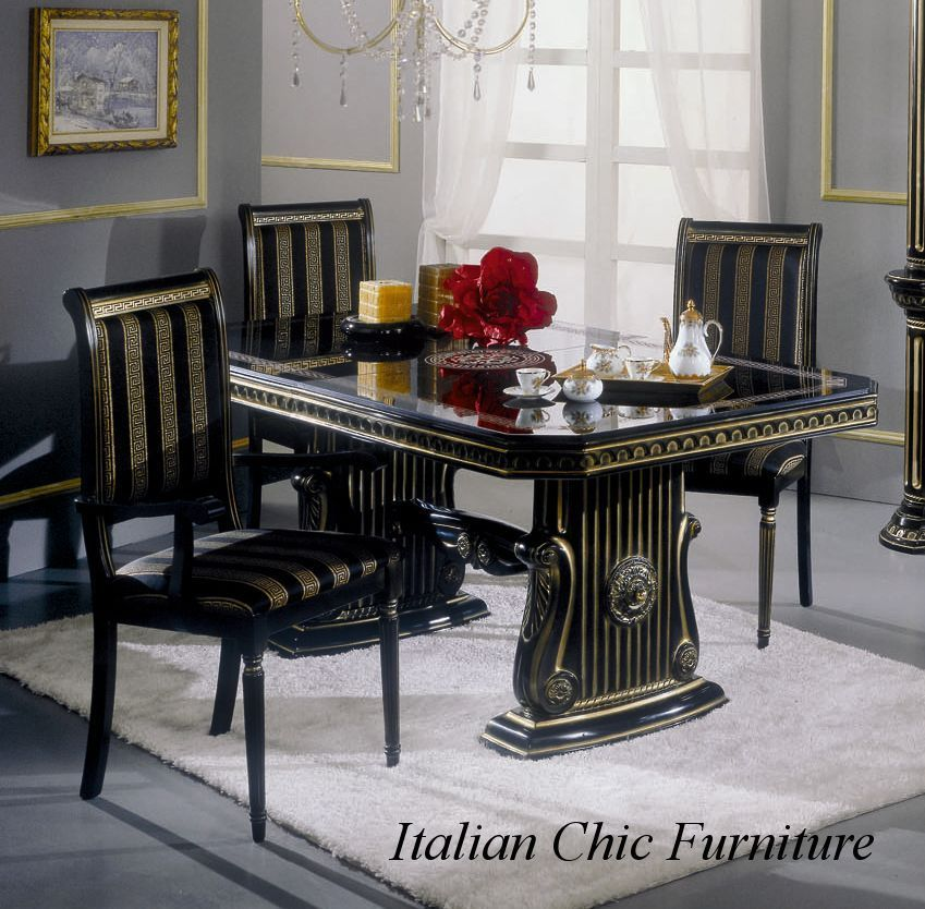 Rossella Black Gold Luxury Dining Table And 6 Chairs Italian Made