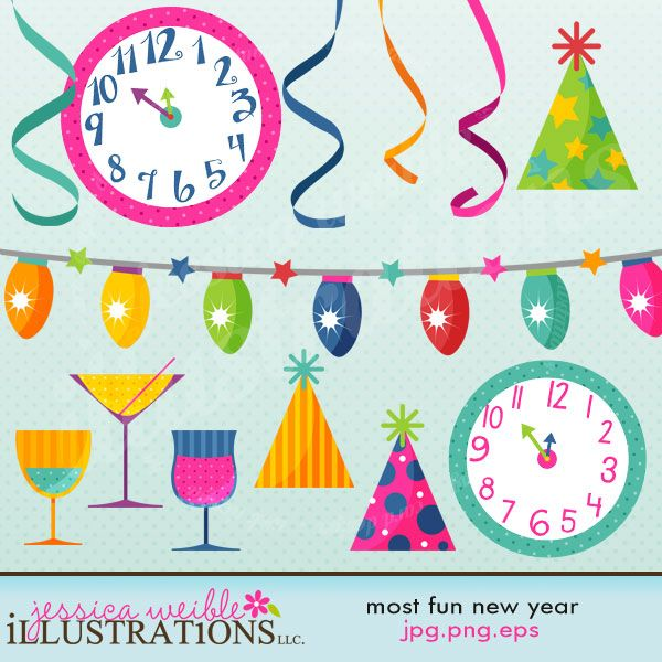 Most Fun New Year comes with 13 fun New Years Party graphics including: 2 clocks, 3 party hats, 3 party drinks, a strand of party lights, and 4 strands of curling ribbon.