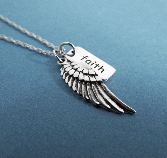 Faith necklace angel wing charm sterling silver wing necklace faith necklace angel wing charm sterling by starlingdesignshop aloadofball Image collections