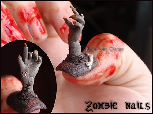Scary halloween nailh are you kidding me kg paranormal i am showcasing scary halloween nail art designs ideas stickers of apply red blood nail color prinsesfo Images