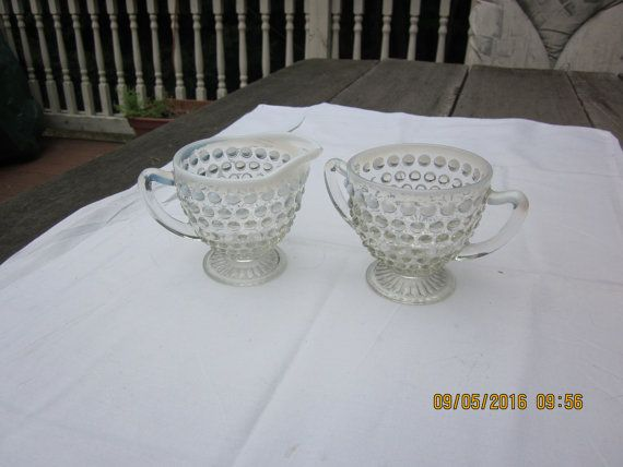 opalescent hobnail creamer and sugar