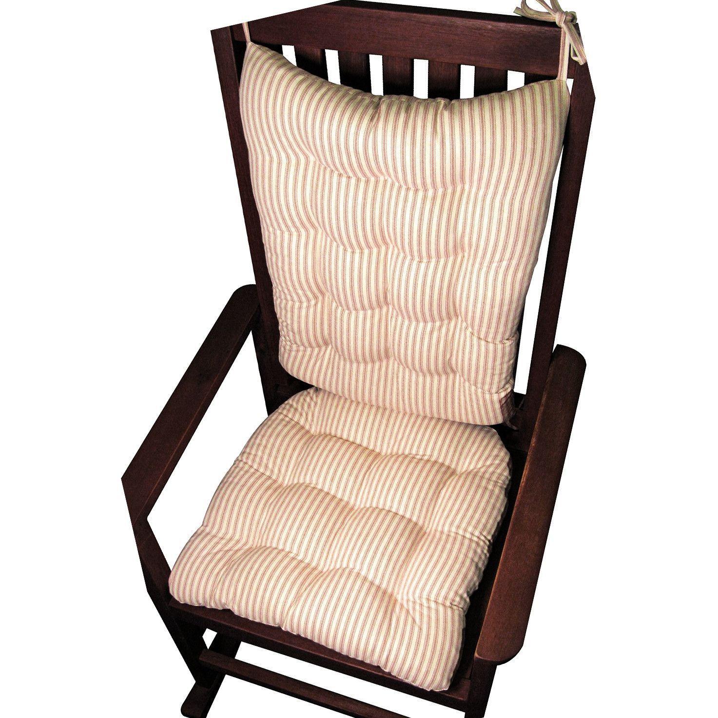 Ticking Stripe Red Rocking Chair Cushion Set   Latex Foam Fill