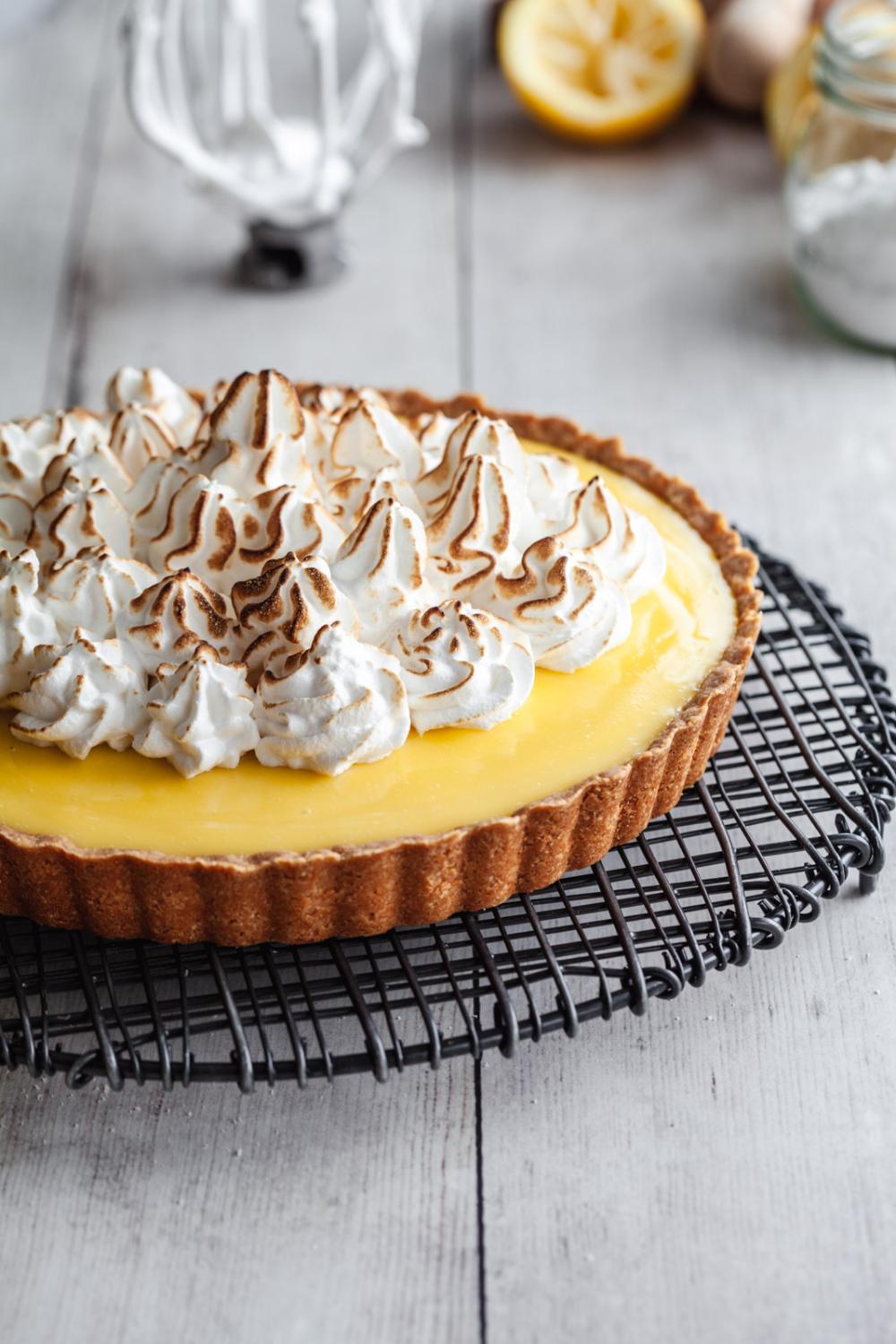 Gluten Free Lemon Custard Cream Tart With Swiss Meringue •Olive & Mango