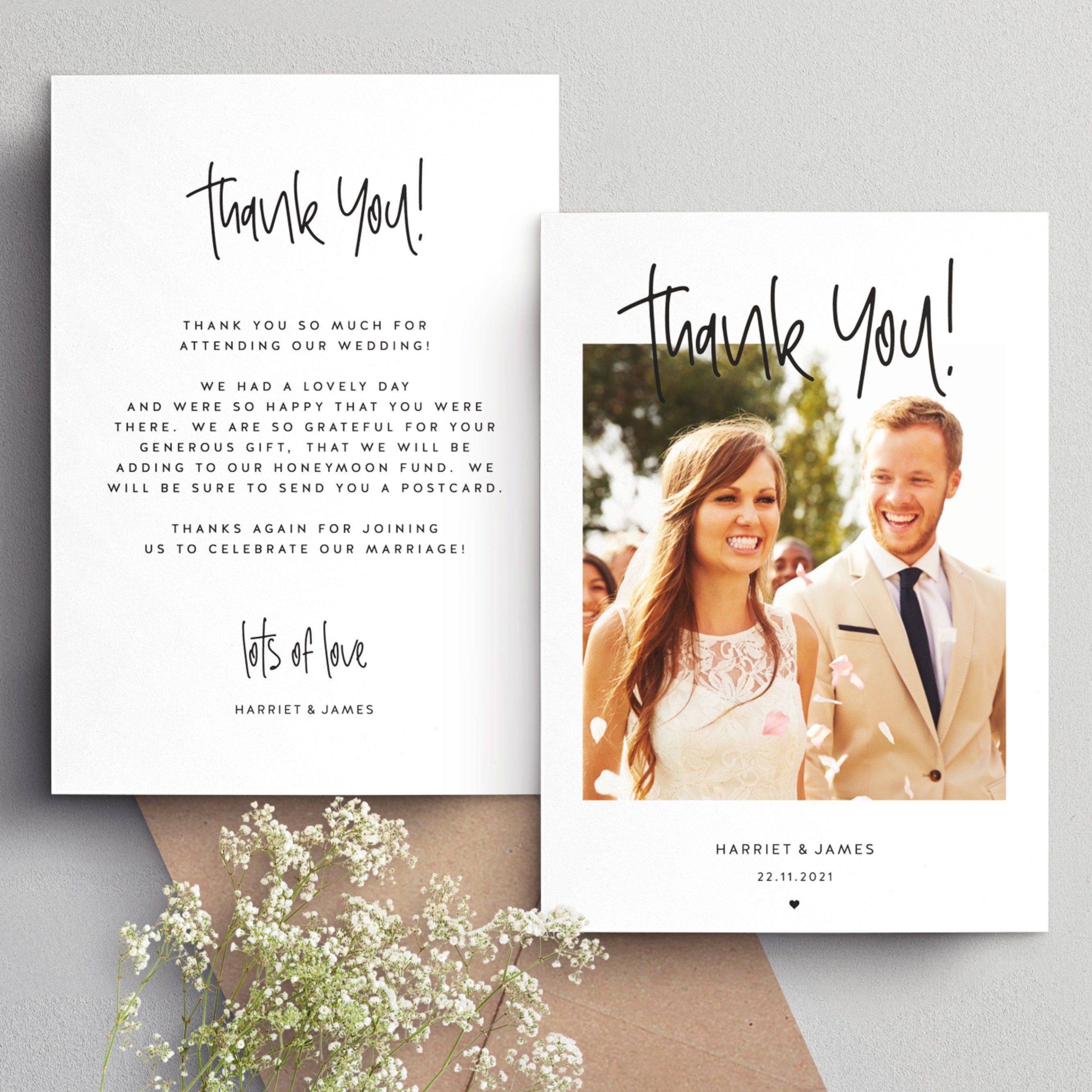 Double Sided Wedding Thank You Cards With Photo Thank You Etsy Personalized Thank You Cards Wedding Thank You Cards Wedding Thank You