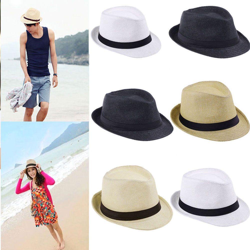 90af57cd Men Women Fedora Panama Wide Brim Trilby Straw Cap Sun Hat Beach Summer  Sunhat #ebay