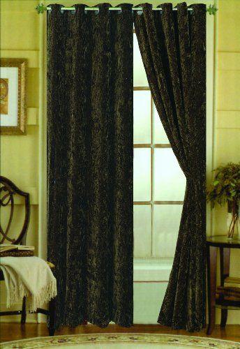 Keila Crushed Velvet Grommet Top Curtain Panel Forest Green