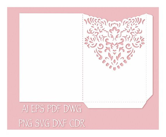 Wedding Invitation Pocket Envelope 5x7 Template, cutting file, (svg